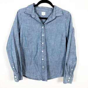 J Crew Chambray Polka Dot Button Down